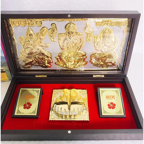 24k Gold Plated Frame with CHARAN PADUKA & SANDAL FRAGRANCE Wooden Box
