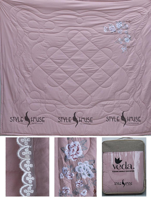 VEDA EMBROIDERY COMFORTER WITH LACE ON BORDER BY STYLE HOUSE