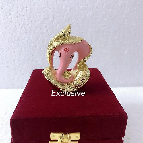 24k Gold Plated Antique Pink Teracota Ganesha In Velvet Box