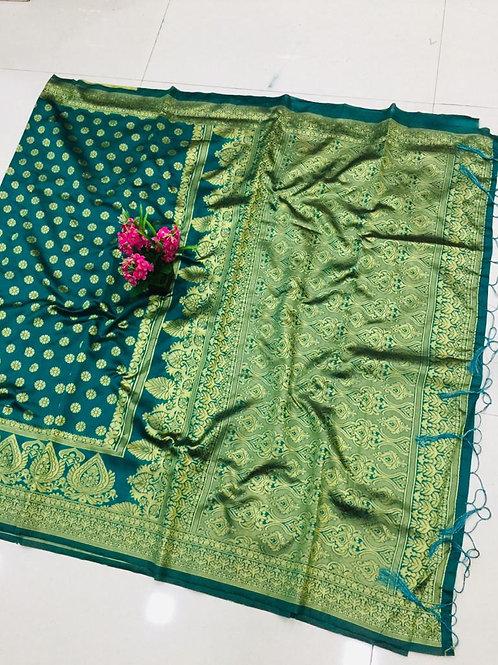Pure Jecard Cotton Silk Saree With Blouse