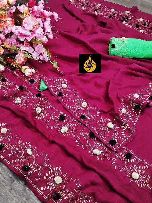 VICHITRA SILK WITH PUM PUM WORK & full saree HOTFIX