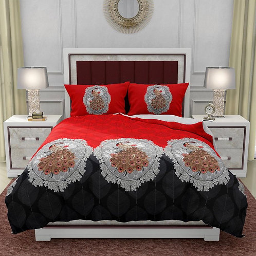 1 King Size Bedsheet & 2 Coordinated Pillow Cover