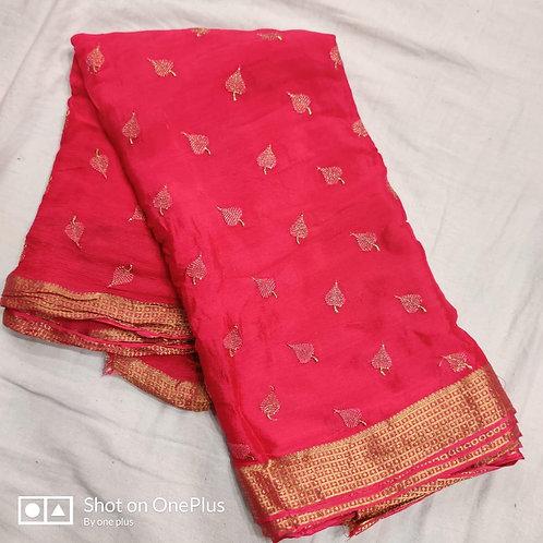 pure chinon fabric full embroidery saree