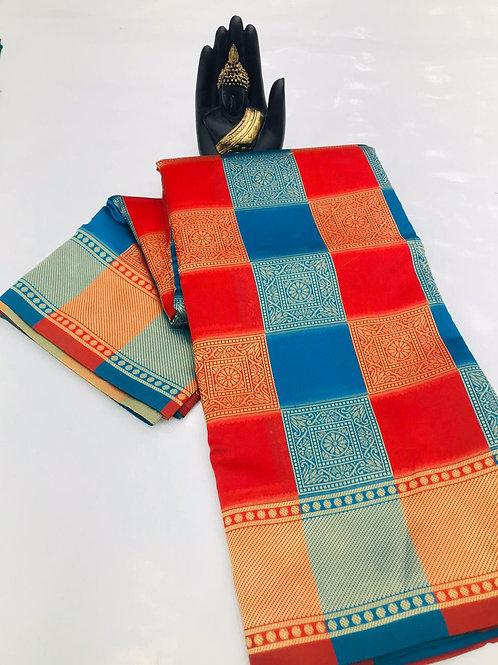 Soft banarsari Silk Saree With weaving saree with heavy Pallu