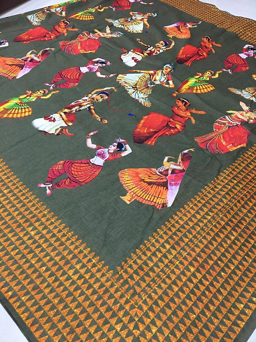 Beautiful semi handloom cristal cotton linen kalmkari digital saree