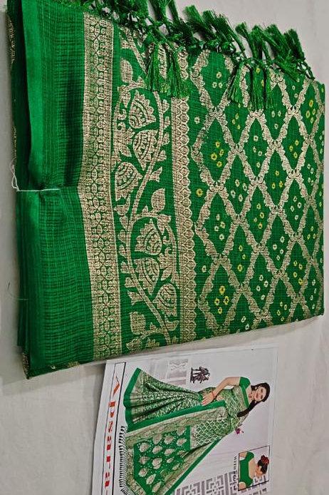 soft Kota silk with beautiful bandej prints Saree
