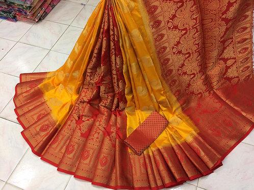 Naylon silk (dyeing material) RICH PALLU Saree