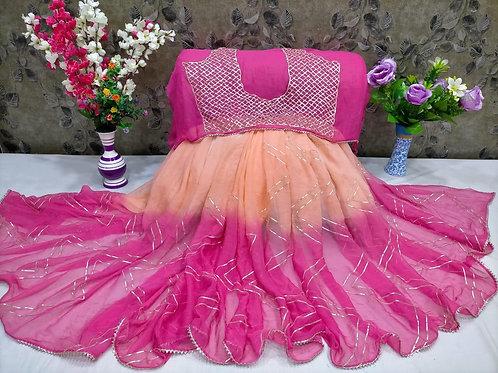 pure double diamond chiffon saree with running blouse