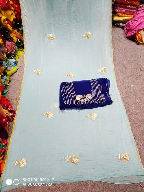 pure ciffon nazmin pipning saree