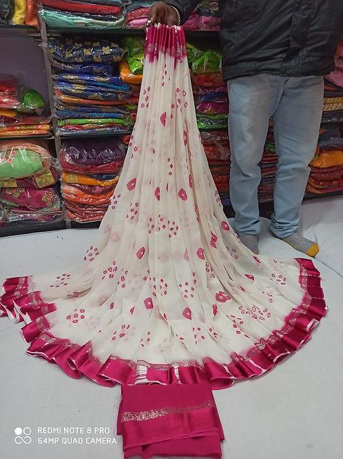 Pure Georgette sebori and bhandej saree
