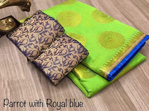 heavy modal chanderi saree  with 2 Blouses for women