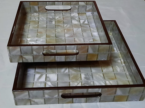Wooden glaze square tray set