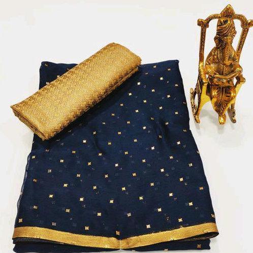 Beutiful chiffon saree with Nice zari border