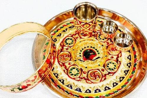 Beautiful karwachauth set in Half meenakari in 13 inches