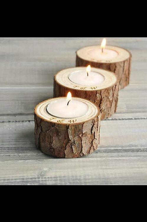 Wooden diya with wax