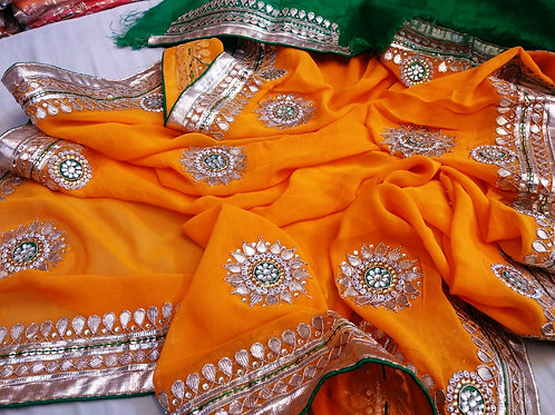 Pure Georgette fabric saree with heavy gotta patti hand work with contras blouse