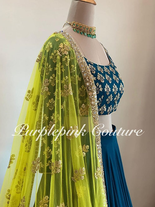 Embroidered lehenga choli in heavy georgette
