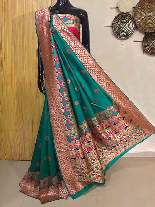 Banarasi silk weaving saree with exclusive meenakari