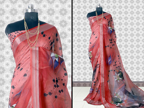 Indian New Catalog of Pure Linen Digital Saree