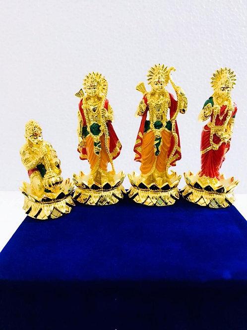 24k Gold & 999 Silver Plated Ram Darbar lotus In Velvet Box