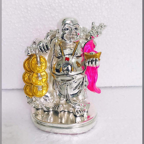 999 Silver Plated Antique Finish *Laughing Budha in Velvet Box Best for gifting