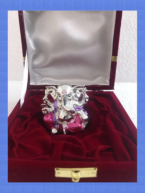 999 Silver Plated Pink Silk Colour Antique Ganesha In Velvet Box