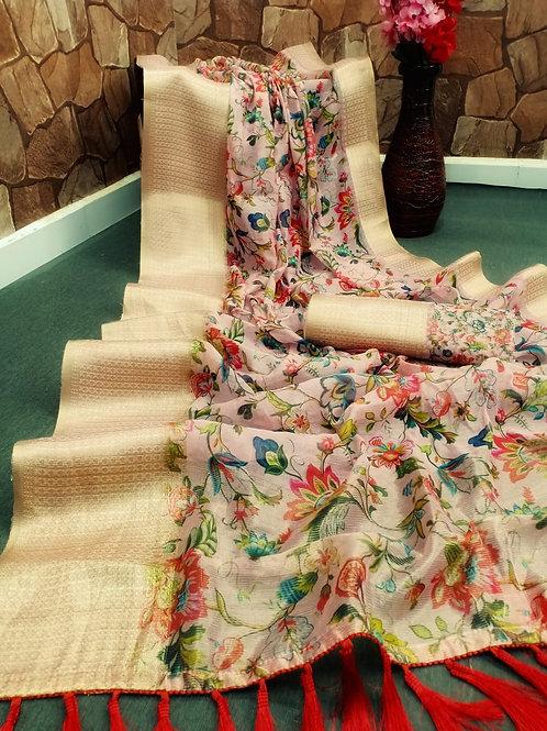 Beautiful Pure Handloom Cotton Silk Allover Digital Printed Sarees
