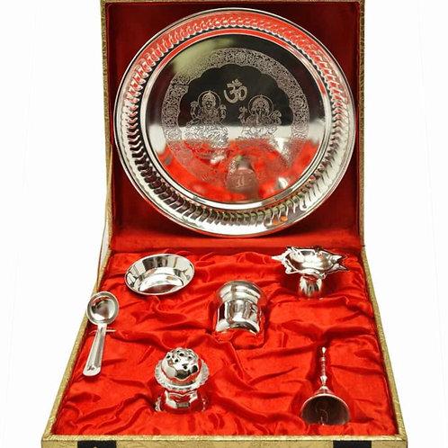 Beautiful pooja thali including all 6 pooja essentials in beautiful box