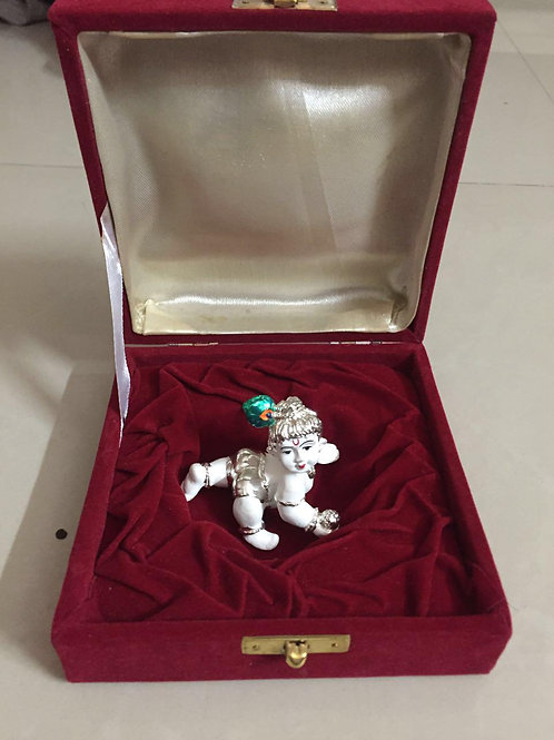 24k Gold & 999 Silver Plated Ladoo Gopal in velvet box