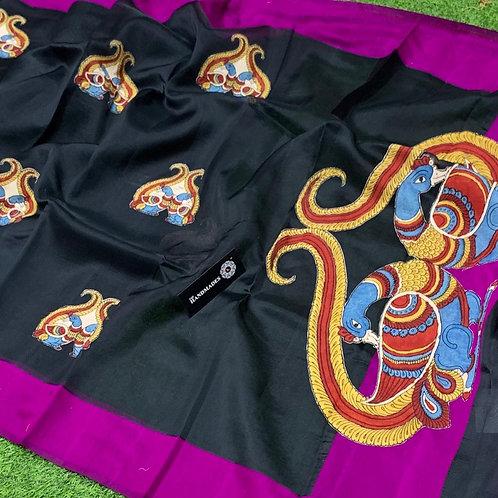 soft crystal silk banarasi sarees with  contrass print patta