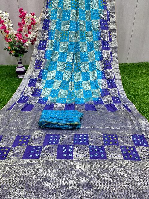 Bandhej ghadchola banarsi silk sarees with full heavy zari