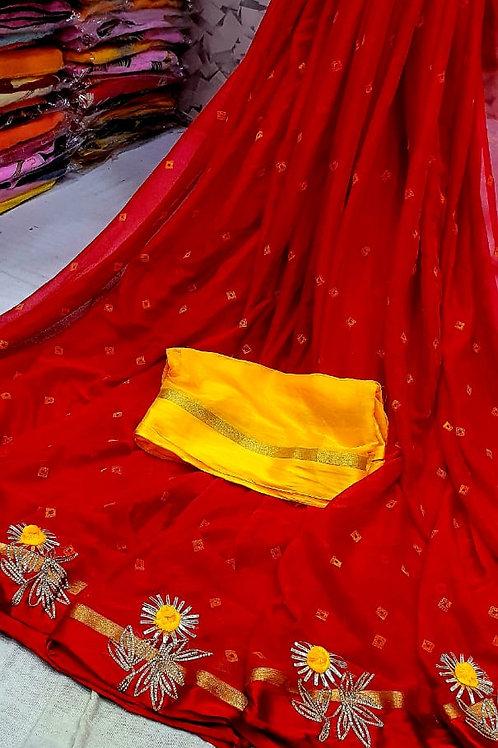 lehriya saree with gotta work butta