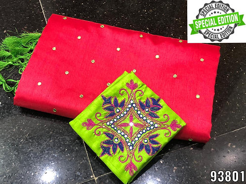 Raw Silk Full Aari Work Saree Piping & Jhalar