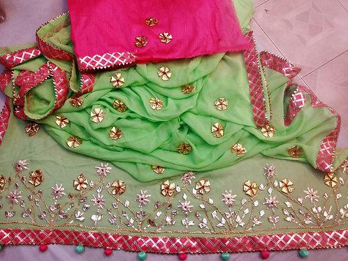 pure najmin ciefon saree and gota work all over saree