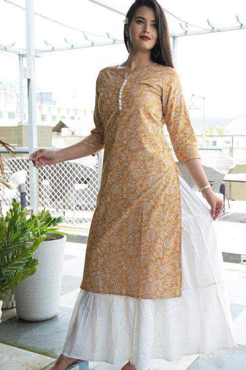 cotton printed Kurti with rayon skirt