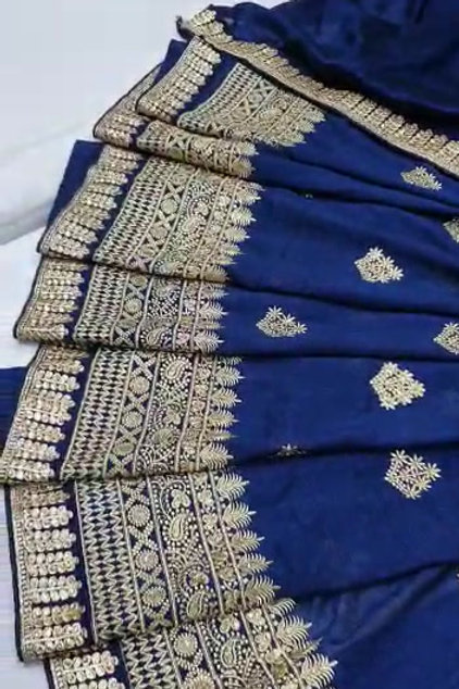 Heavy vichitra silk quality with  border design