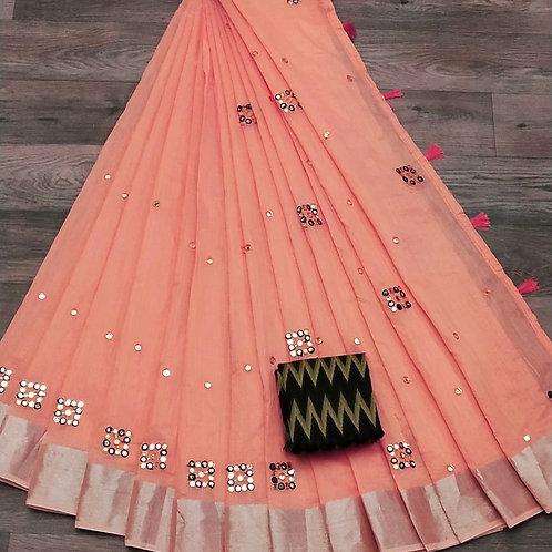 linen saree with full mirror Pallu N full mirror work