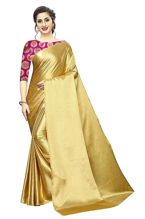 Sattin silk Sarri With Banarasi Silk Blouse
