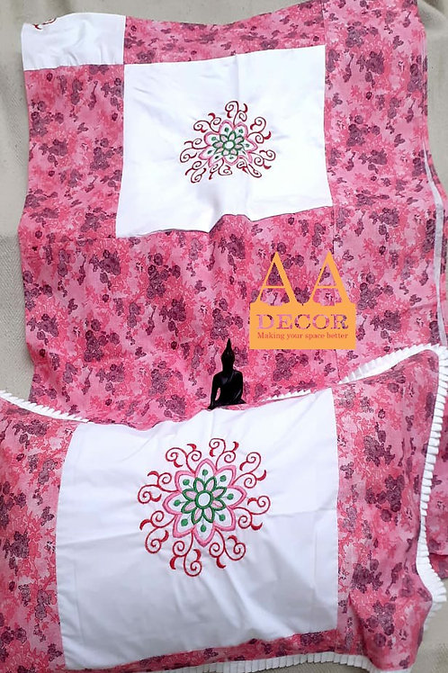 Bedsheet with Beautiful Embroidery and Patch Work