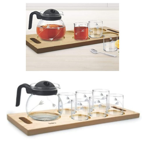 Borosilicate transparent tea glass with Flame proof cattle and wooden tray