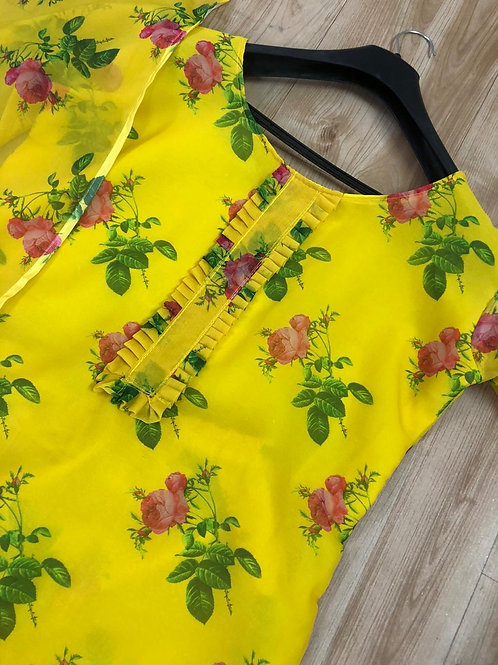 Yellow Gorgette Printed Suit
