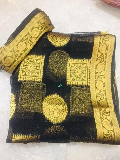 Desingner flower keri with Havy jari buta chiffon pure dayi with blouse saree
