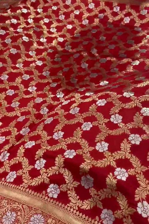 Fabriclore's PURE Jacquard fabrics with Resham zari work Saree