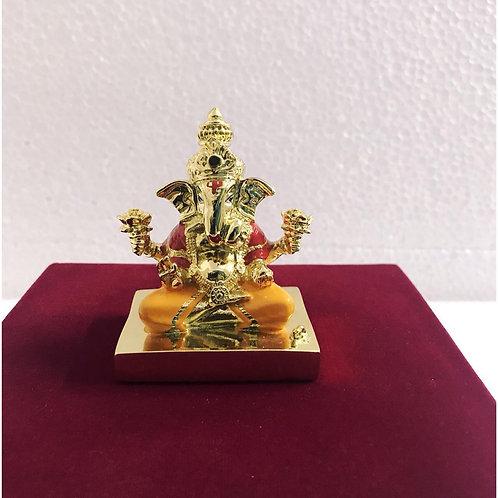 24k Gold & 999 Silver Plated Two Tone Mukut Ganesha on Chowki In Velvet Box