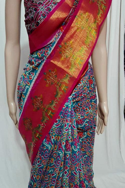 soft linen cotton slub sarees with big silver Blouse