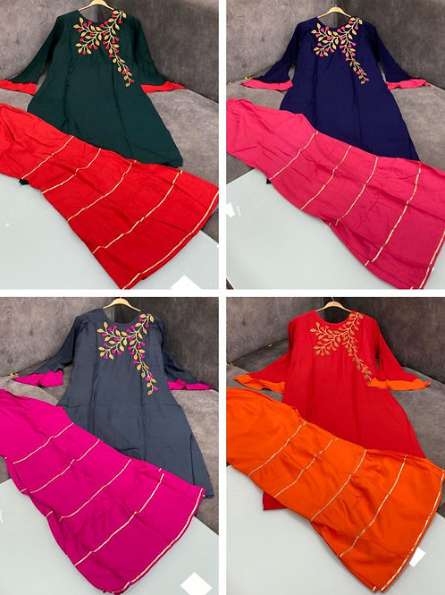 Stitched Rayon  Fabric  Kurti Having Designer Bell 🔔 Sleeves