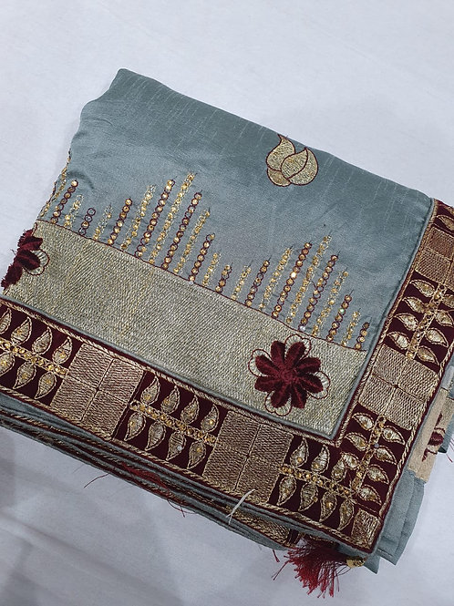 Material heavy vichitra silk quality with  border design
