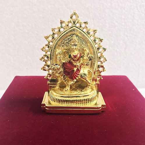 24k Gold & 999 Silver Plated Welcome Arch Durga Maa at your home In Velvet Box