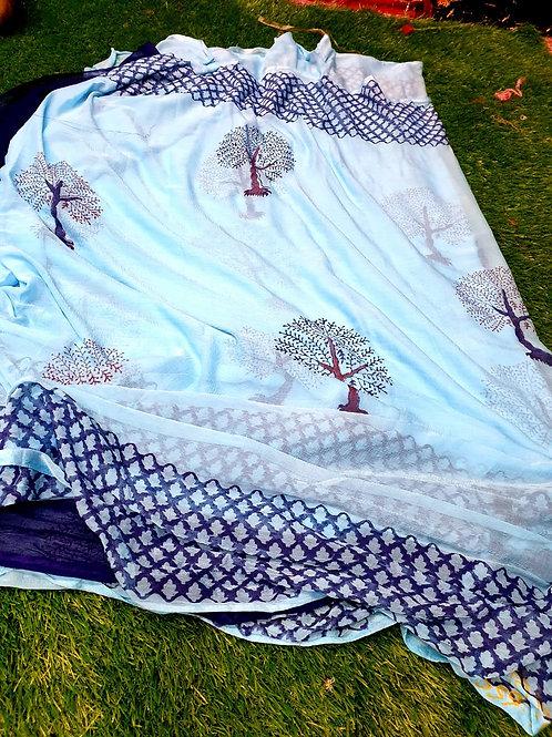 Najven shifon saree Paid print Fabric Saree