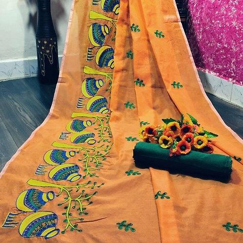 Attractive Cotton Silk Embroidered Saree